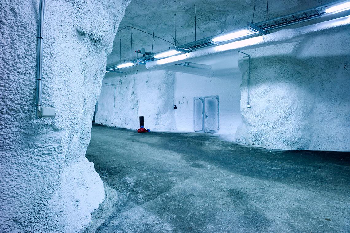 Frozen inside seed vault, Svalbard